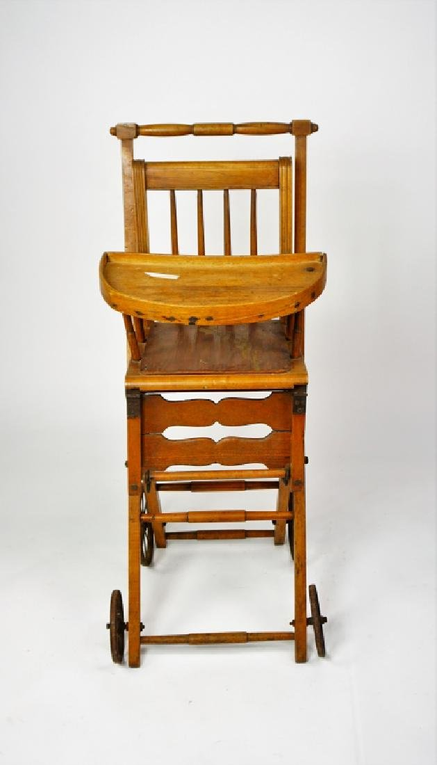 ANTIQUE HIGH CHAIR/STROLLER - 2