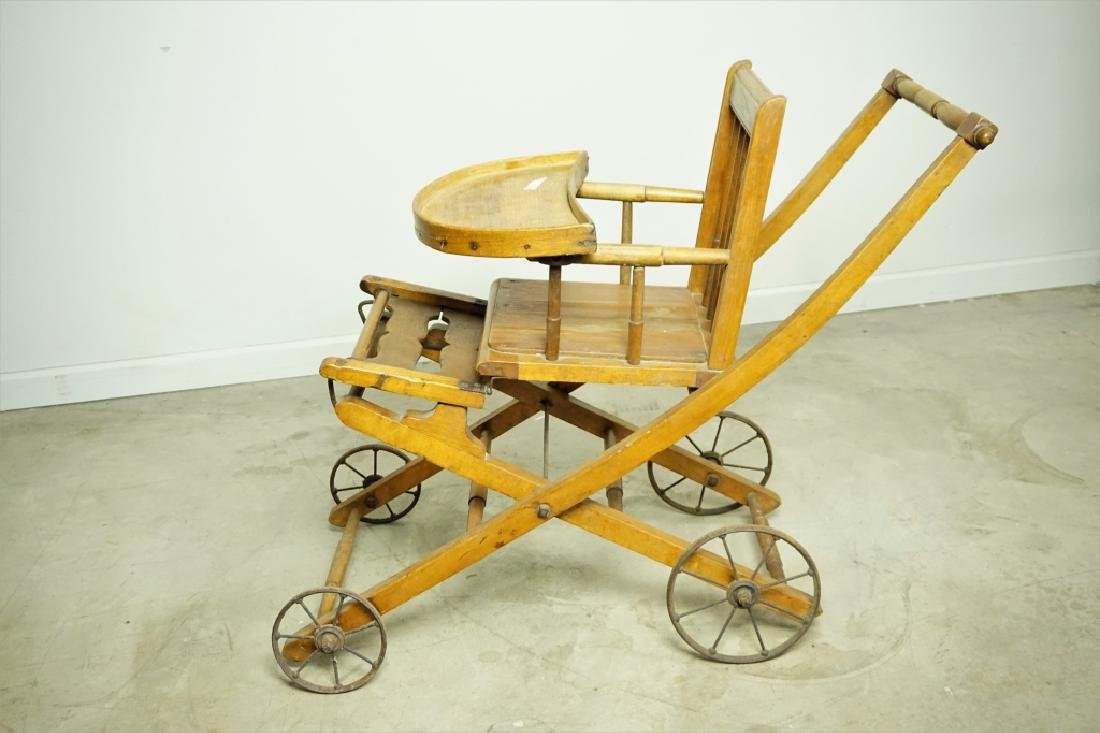 ANTIQUE HIGH CHAIR/STROLLER - 5