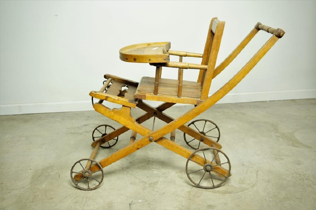 ANTIQUE HIGH CHAIR/STROLLER - 6