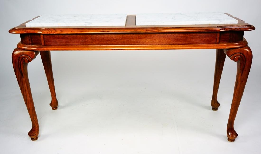 OAK HALL TABLE WITH MARBLE INSERTS