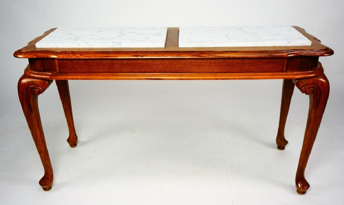 OAK HALL TABLE WITH MARBLE INSERTS - 2