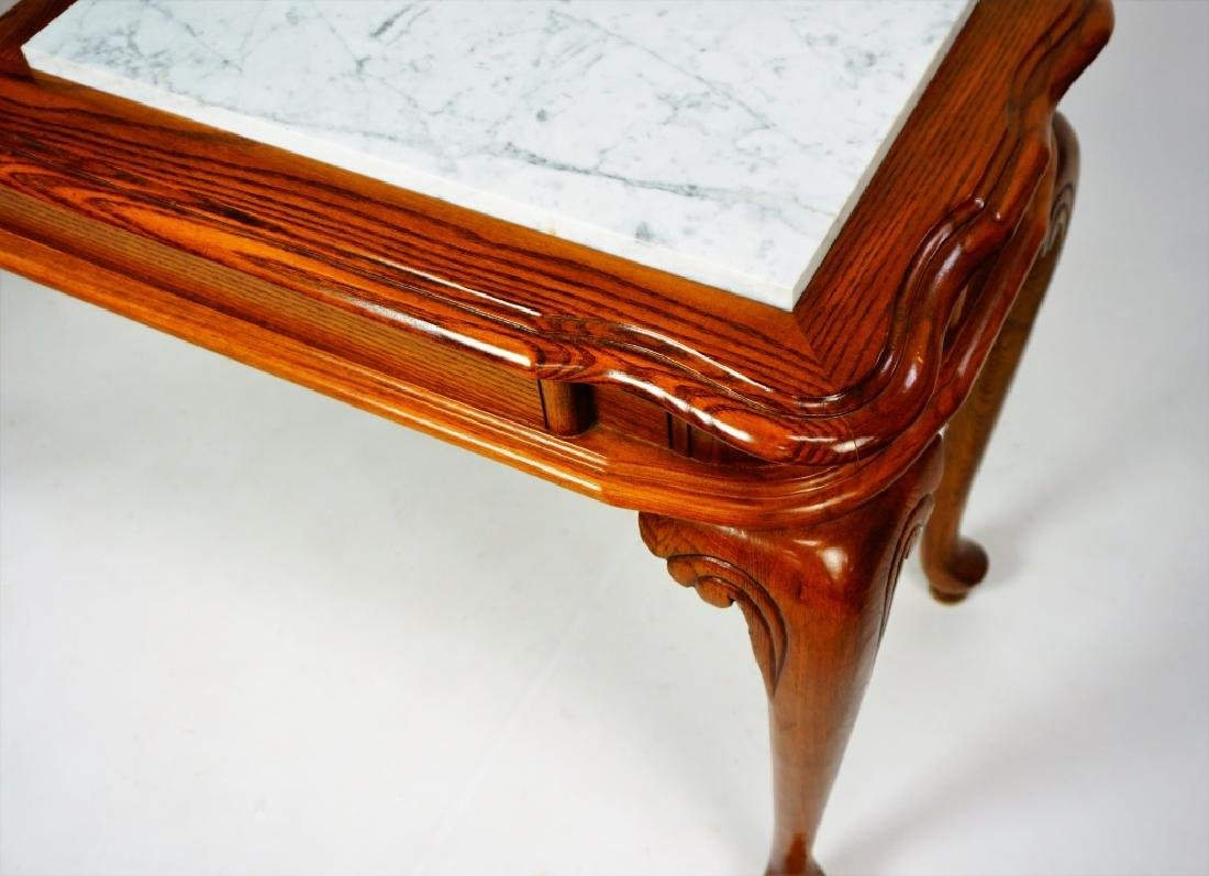 OAK HALL TABLE WITH MARBLE INSERTS - 4