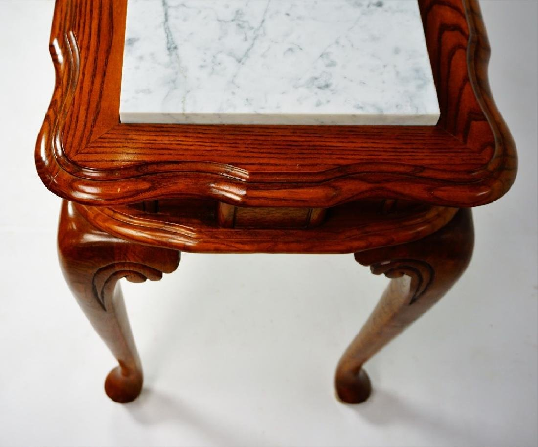 OAK HALL TABLE WITH MARBLE INSERTS - 5