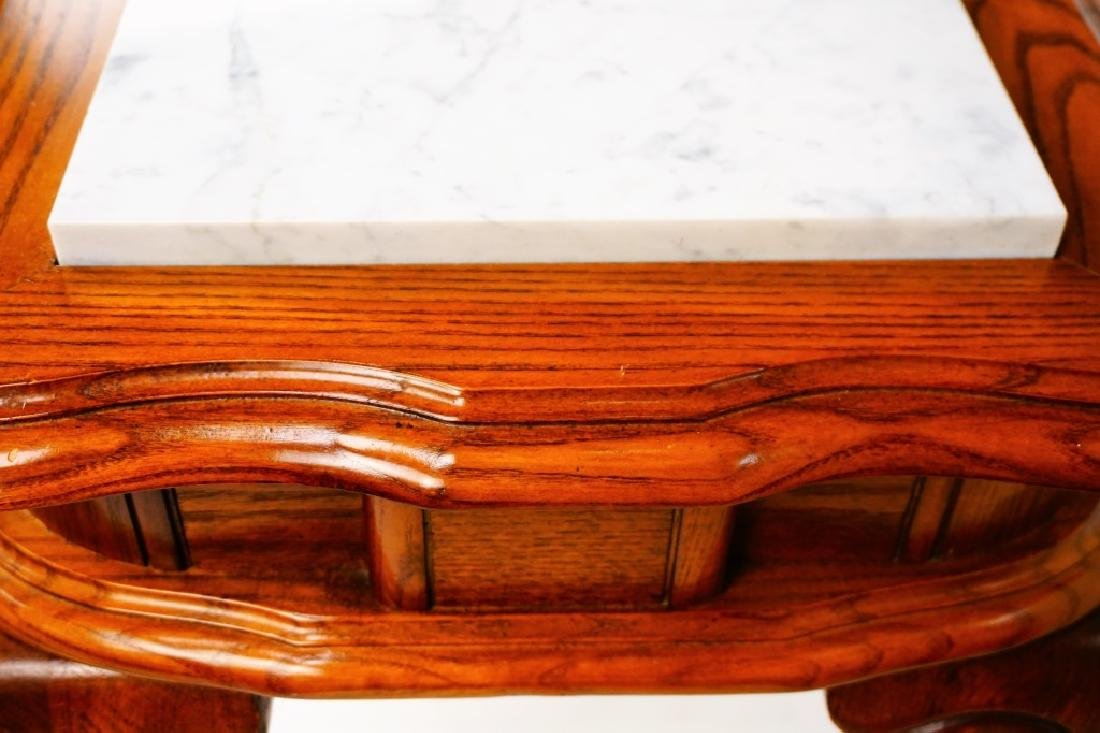 OAK HALL TABLE WITH MARBLE INSERTS - 6