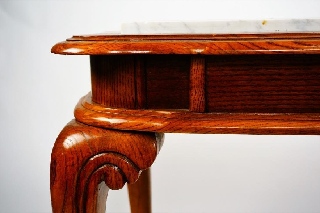 OAK HALL TABLE WITH MARBLE INSERTS - 7