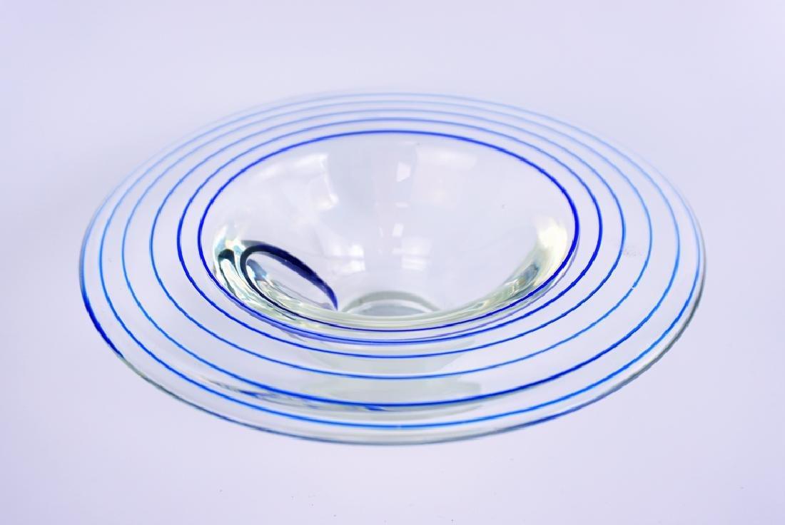 VINTAGE ART GLASS COBALT SWIRL BOWL