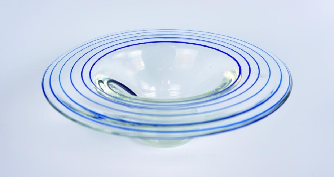VINTAGE ART GLASS COBALT SWIRL BOWL - 4
