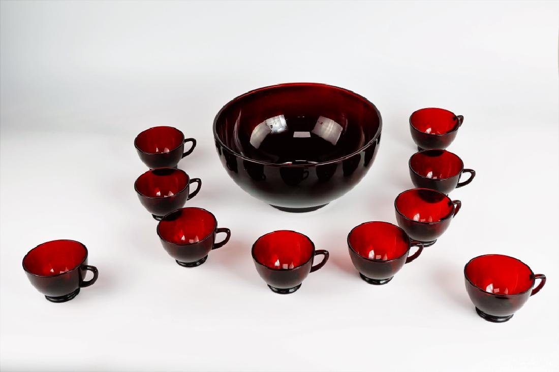 11pc CRANBERRY PUNCH BOWL SET