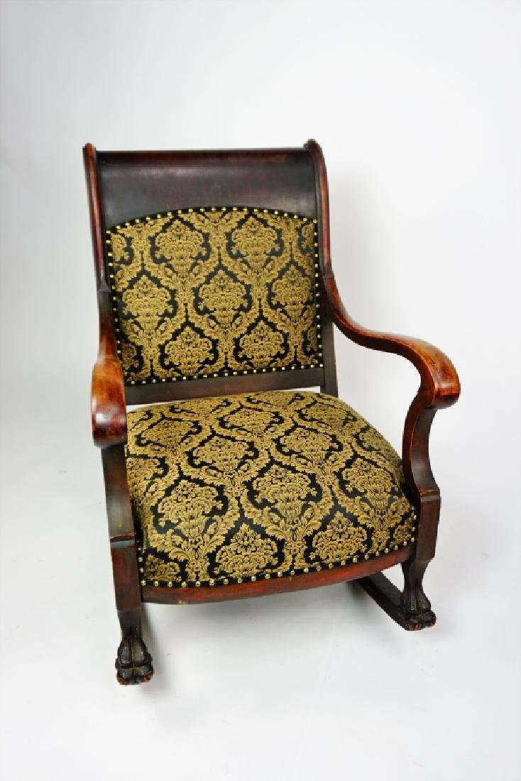ANTIQUE EMPIRE ROCKER WITH UPHOLSTERED SEAT & BACK