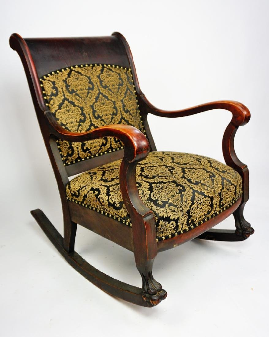 ANTIQUE EMPIRE ROCKER WITH UPHOLSTERED SEAT & BACK - 3