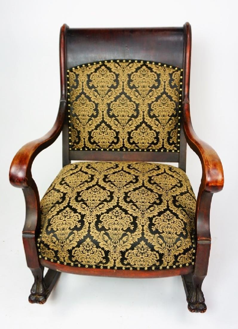 ANTIQUE EMPIRE ROCKER WITH UPHOLSTERED SEAT & BACK - 4