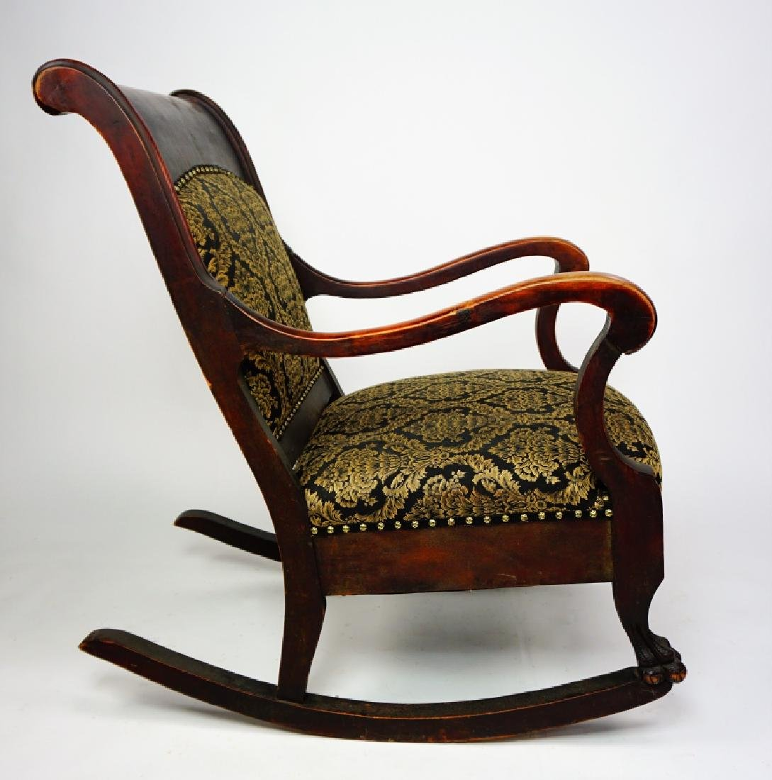 ANTIQUE EMPIRE ROCKER WITH UPHOLSTERED SEAT & BACK - 8