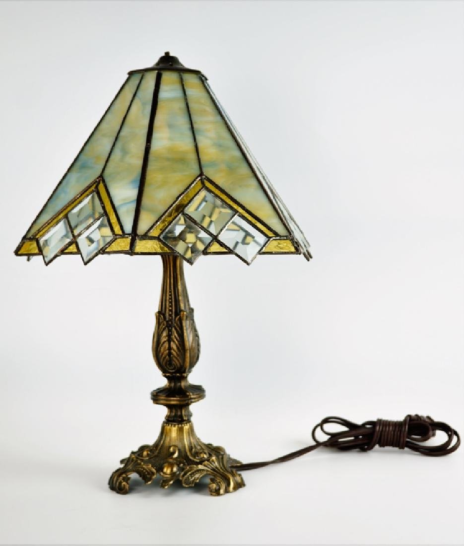 TABLE LAMP WITH LEADED GLASS SHADE - 4