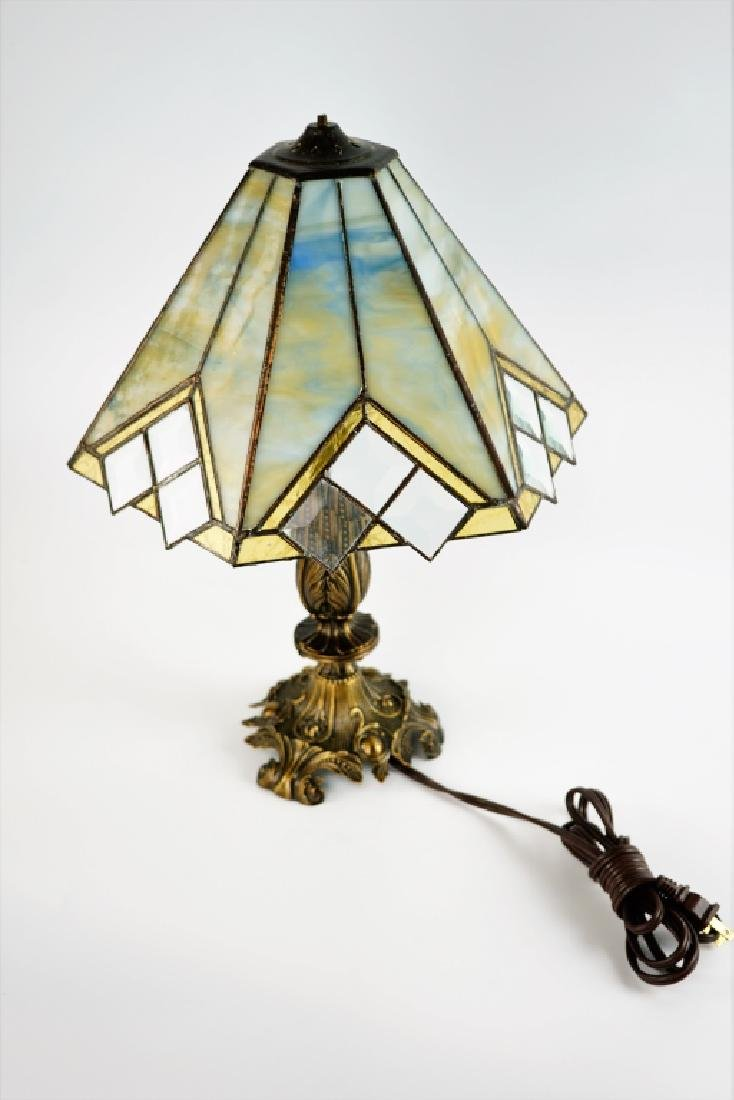 TABLE LAMP WITH LEADED GLASS SHADE - 5