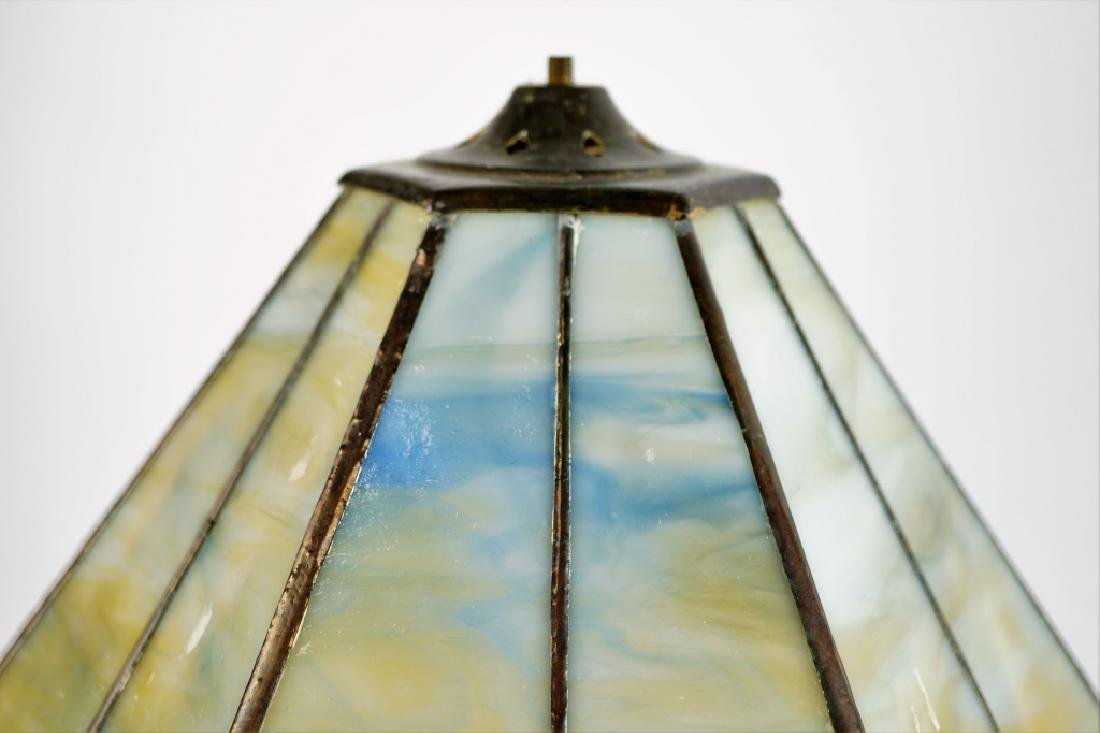 TABLE LAMP WITH LEADED GLASS SHADE - 7