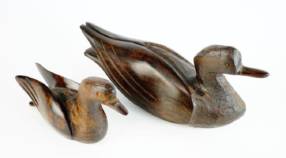 (2) CARVED MAHOGANY DUCKS