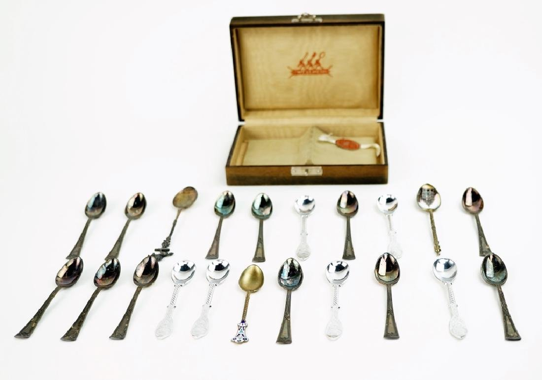 (21) ASSORTED SILVER PLATE SOUVENIR SPOONS - 3