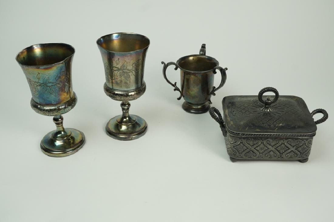 4pcs ASSORTED SILVER PLATE HOLLOWWARE