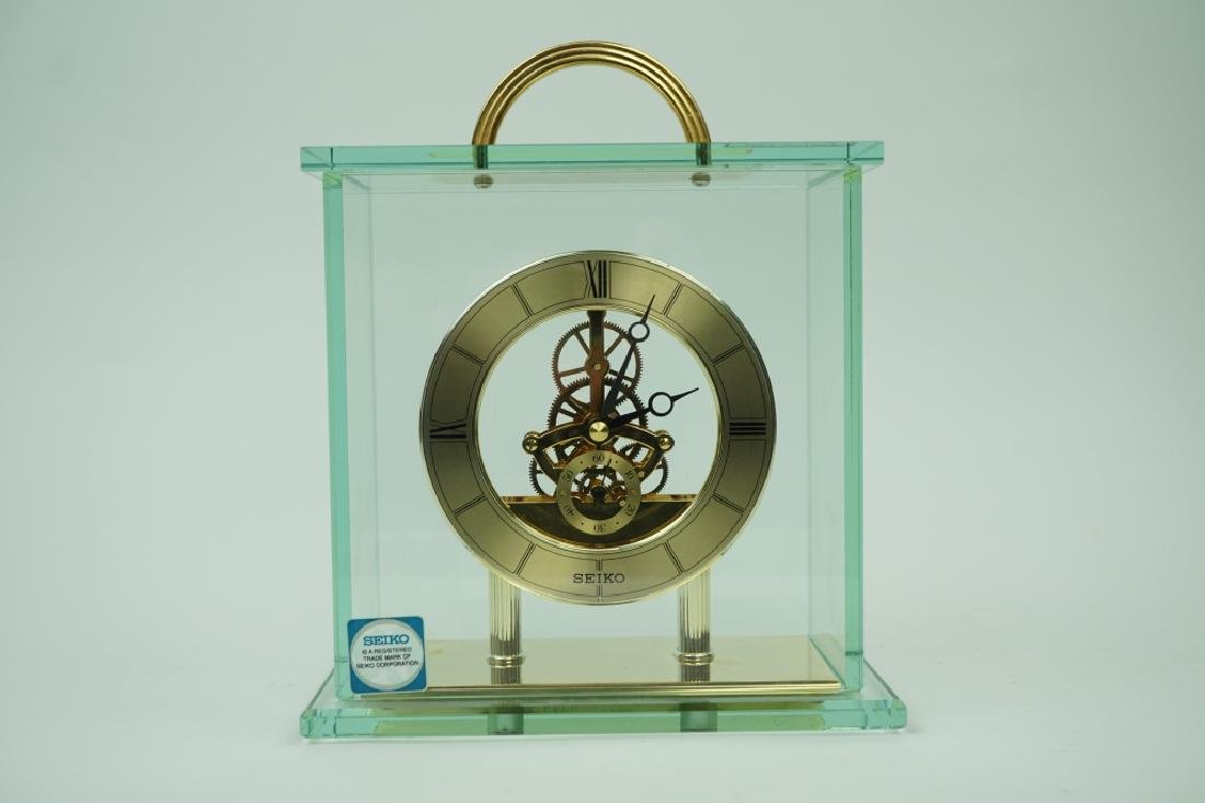 VINTAGE SEIKO BRASS AND GLASS MANTLE CLOCK