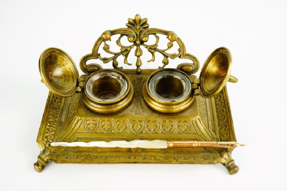 ANTIQUE BRASS INKWELL WITH PEN - 5