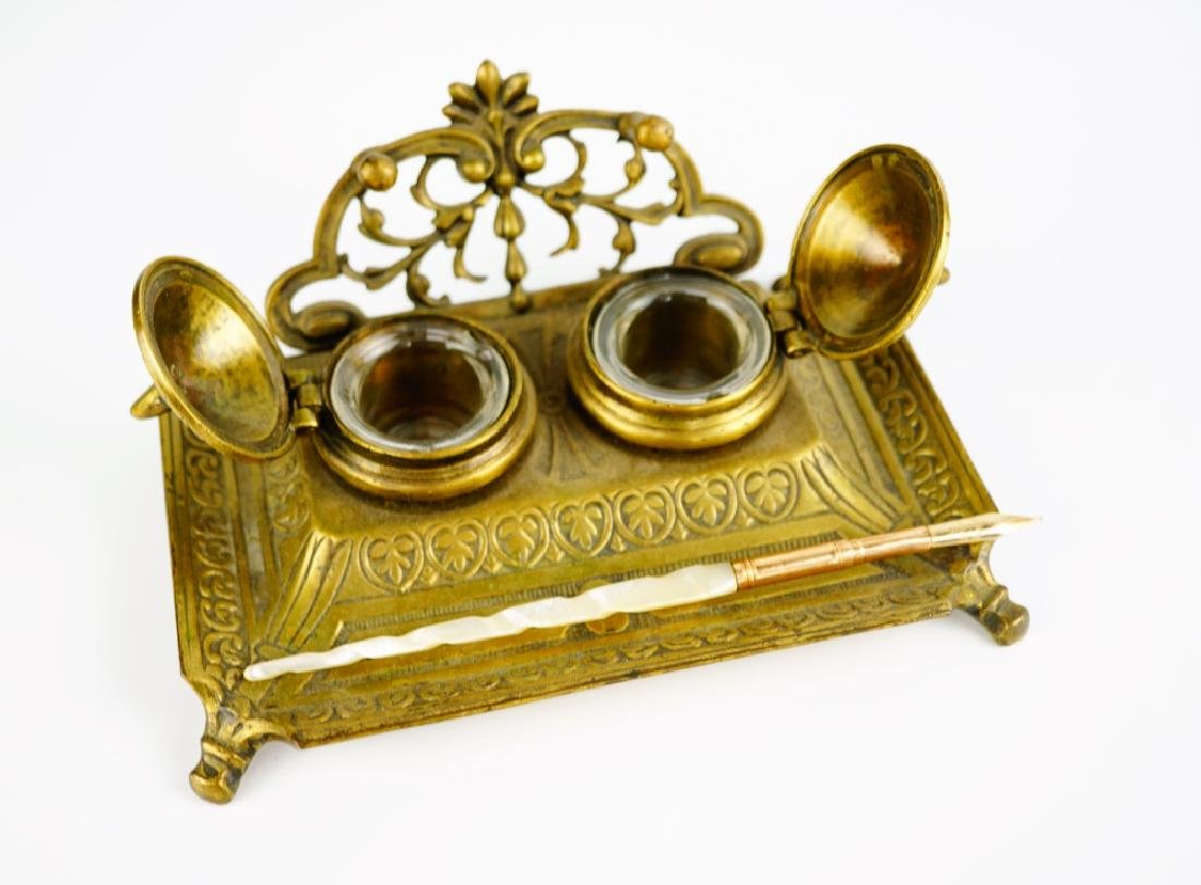 ANTIQUE BRASS INKWELL WITH PEN - 6