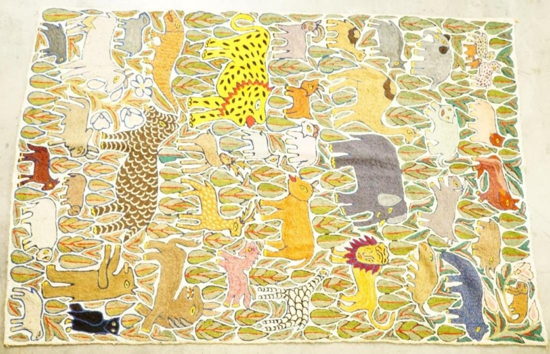 VINTAGE HAND CREWL EMBROIDERY WOODLAND TAPESTRY