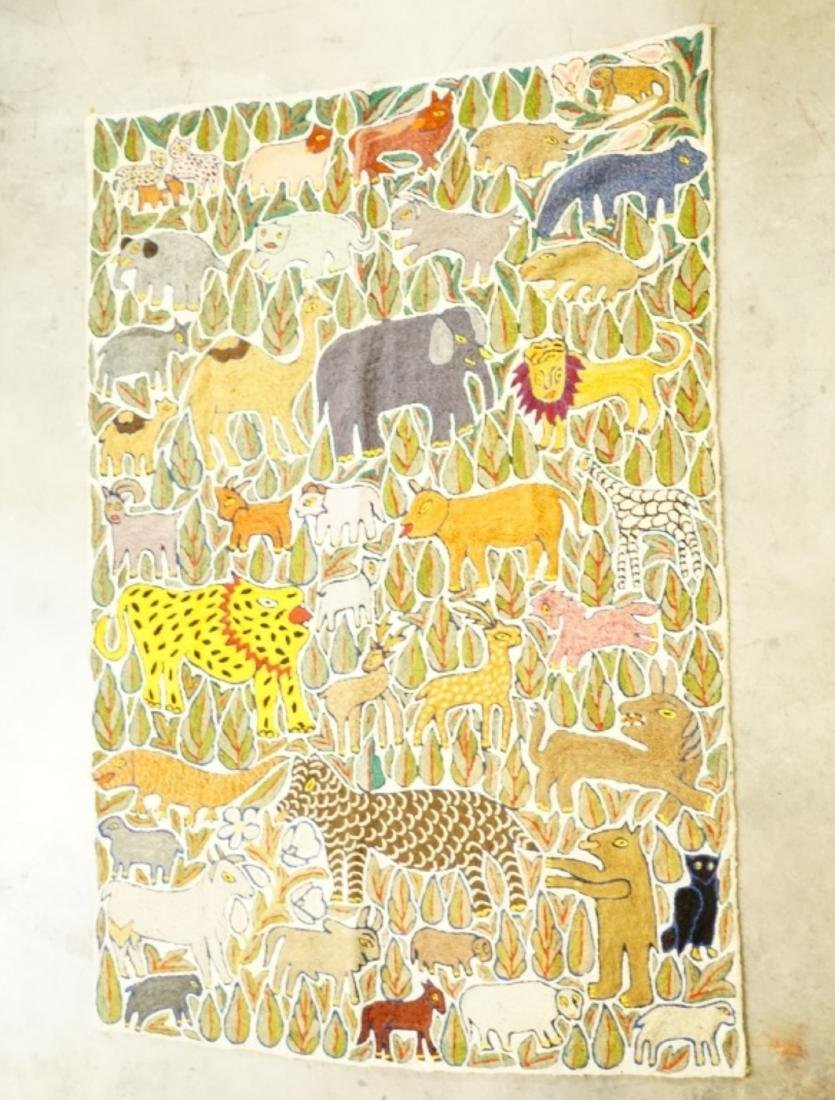 VINTAGE HAND CREWL EMBROIDERY WOODLAND TAPESTRY - 2