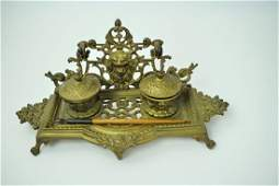 ANTIQUE BRASS INKWELL WITH PEN