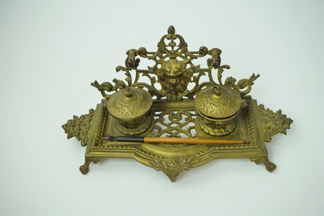 ANTIQUE BRASS INKWELL WITH PEN - 2