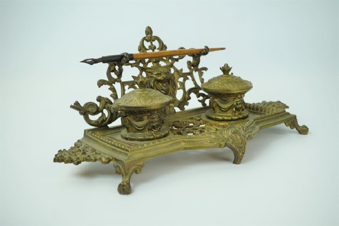 ANTIQUE BRASS INKWELL WITH PEN - 4
