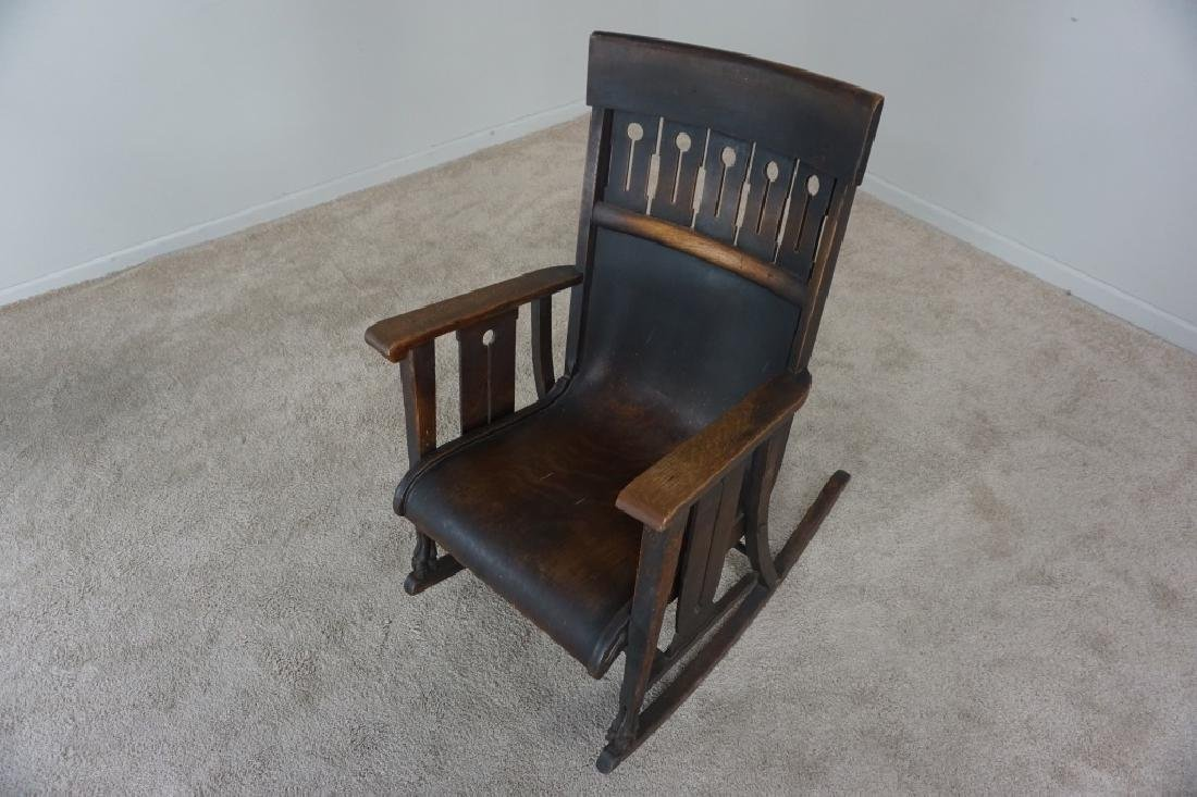 OAK MISSION STYLE ROCKER - 3