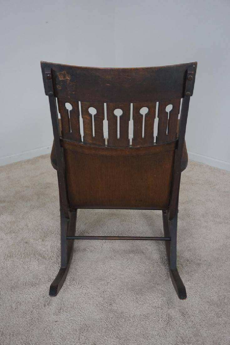 OAK MISSION STYLE ROCKER - 4