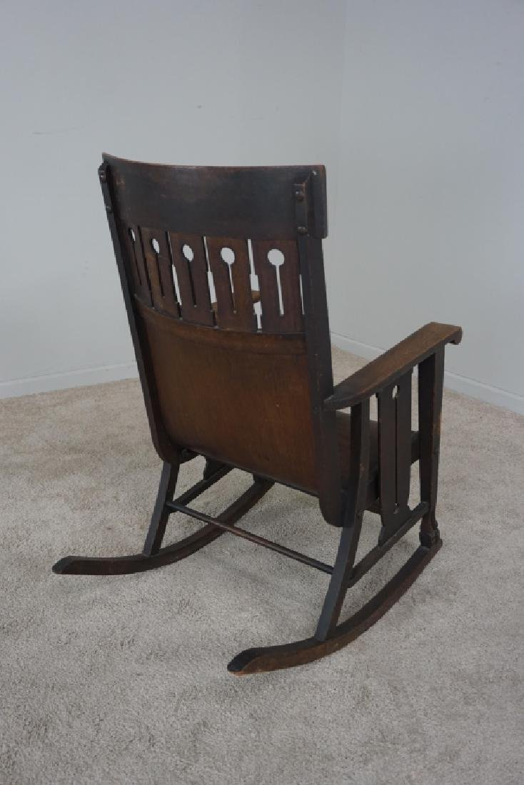 OAK MISSION STYLE ROCKER - 5