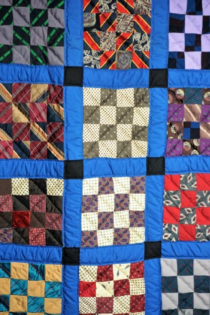 HAND MADE AMISH QUILT FROM OLD TIES - 2