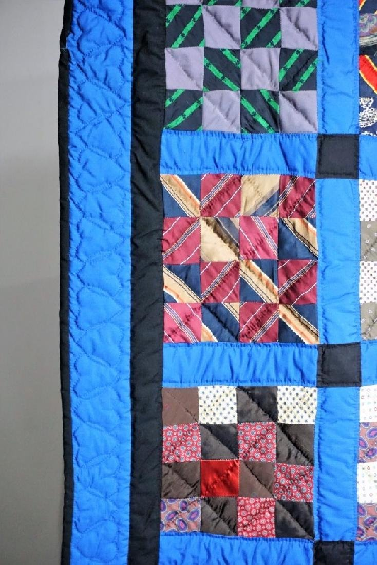 HAND MADE AMISH QUILT FROM OLD TIES - 3
