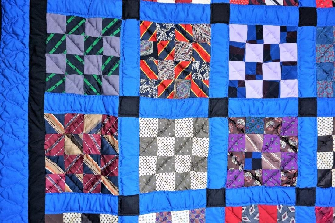 HAND MADE AMISH QUILT FROM OLD TIES - 4