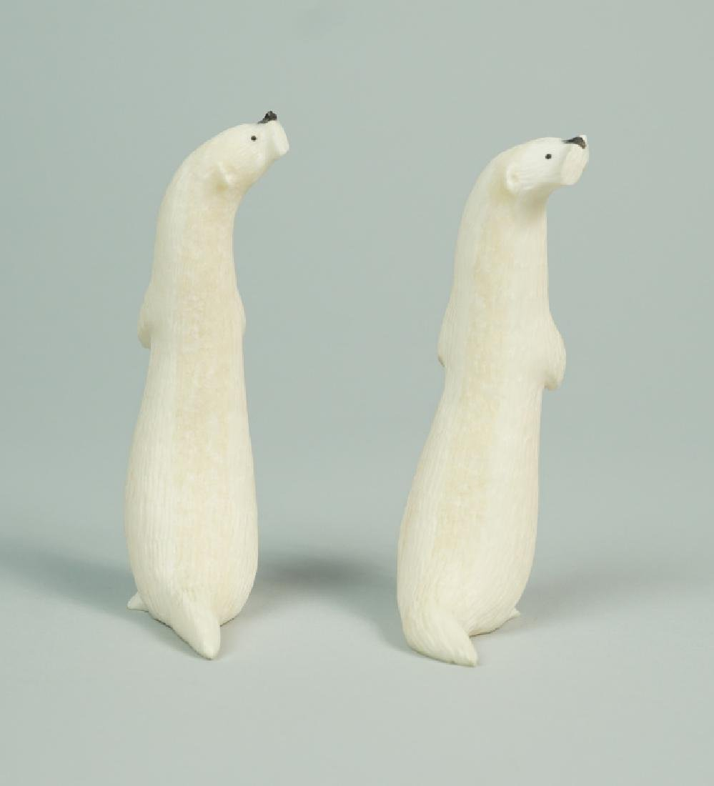 "(2) INUIT RON ""QAY"" APANGALOOK OTTER CARVINGS - 3"