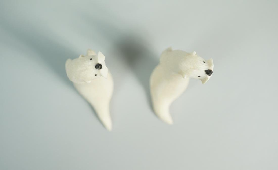"(2) INUIT RON ""QAY"" APANGALOOK OTTER CARVINGS - 4"