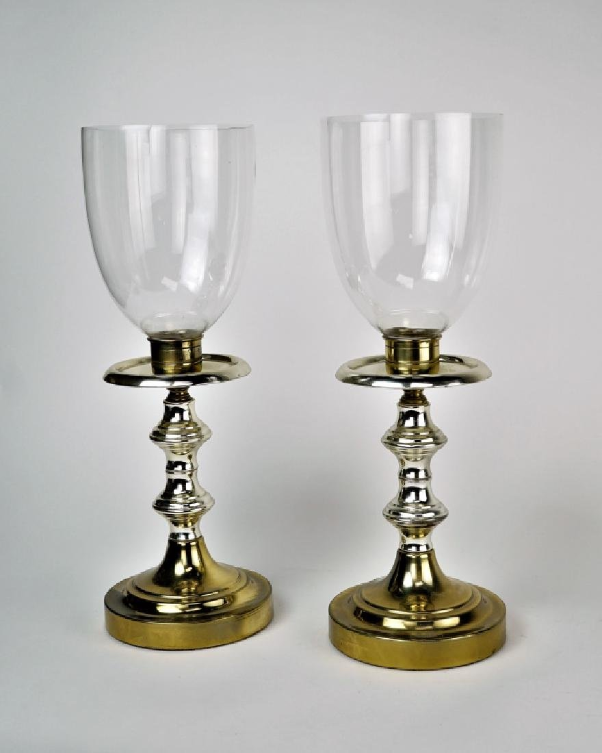 PAIR OF LARGE CANDLESTICKS WITH HURRICANE CHIMNEY