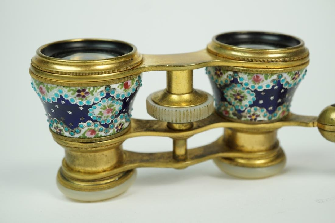 ANTIQUE LA REINE PARIS ENAMEL OPERA GLASSES - 3