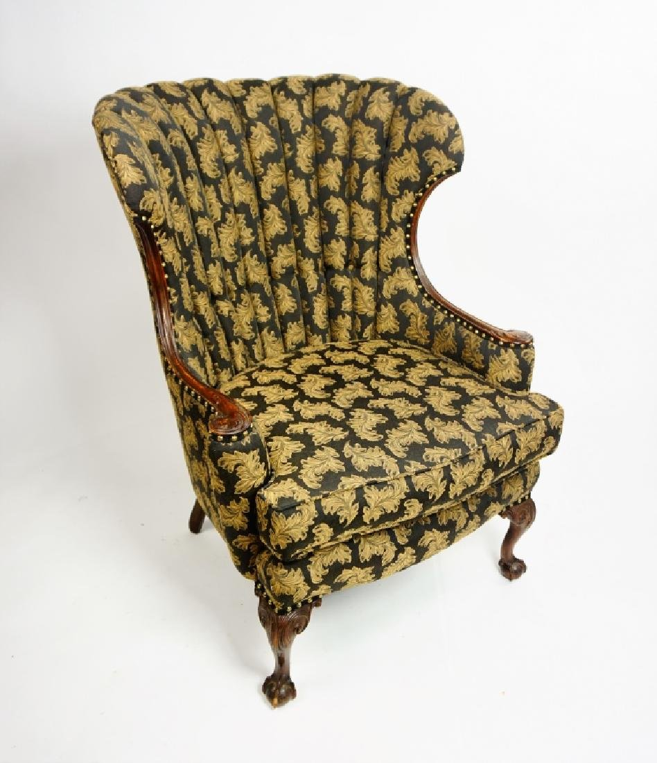 VINTAGE CHANNEL BACK CHAIR WITH MAHOGANY FRAME