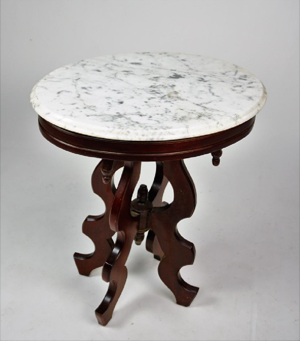 VICTORIAN STYLE WALNUT STAND WITH MARBLE TOP