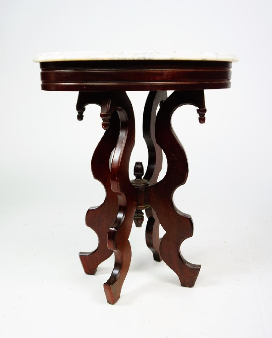 VICTORIAN STYLE WALNUT STAND WITH MARBLE TOP - 2