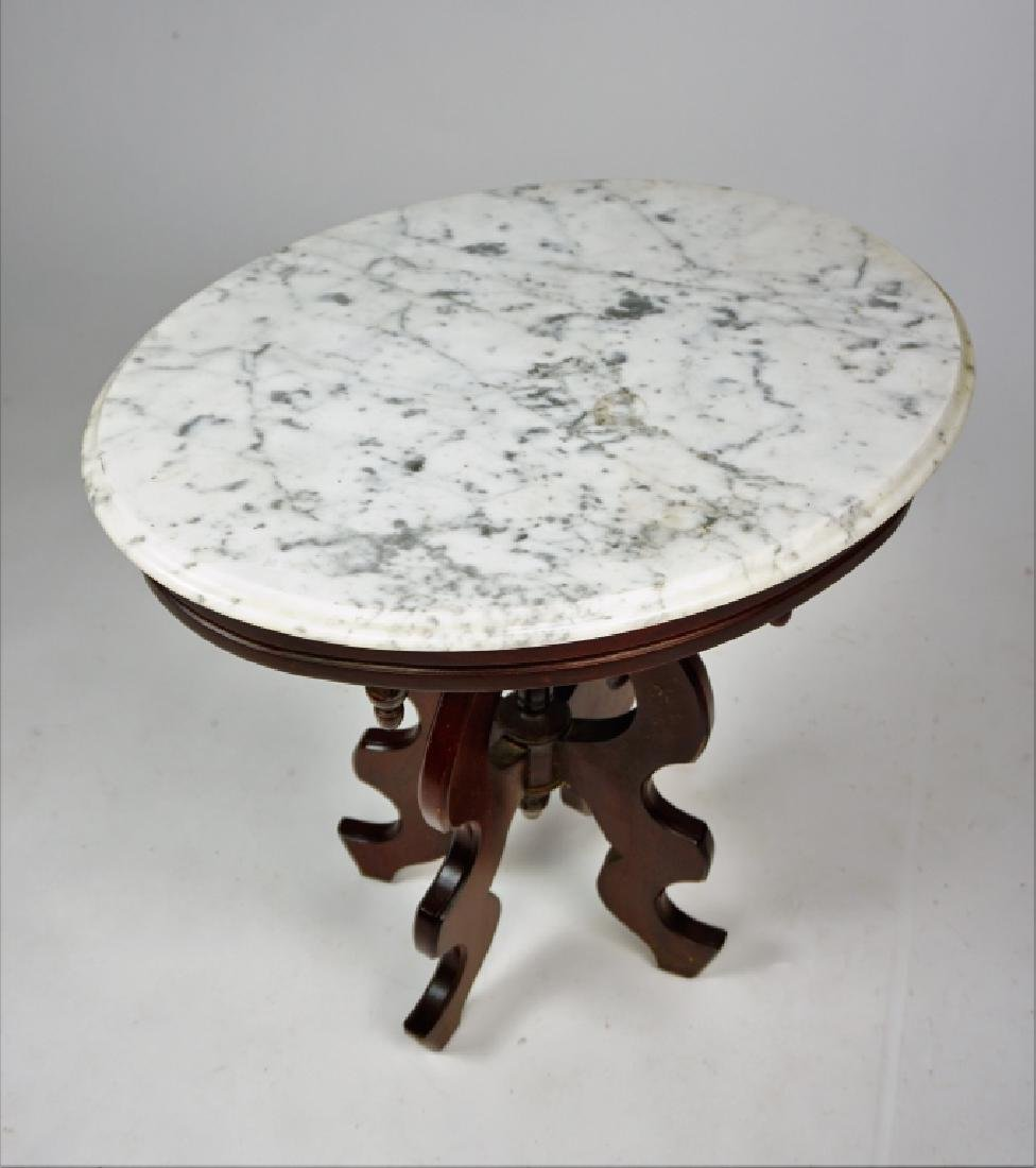 VICTORIAN STYLE WALNUT STAND WITH MARBLE TOP - 3