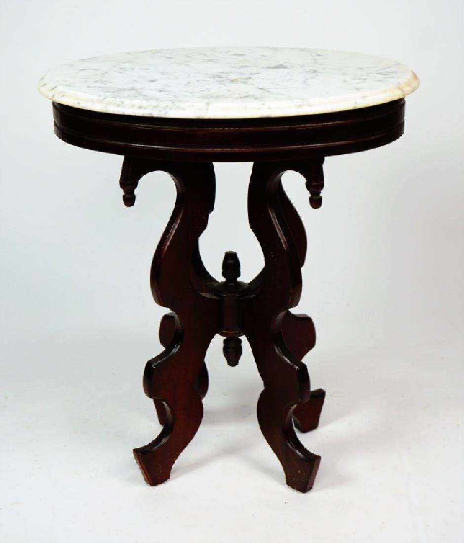 VICTORIAN STYLE WALNUT STAND WITH MARBLE TOP - 8