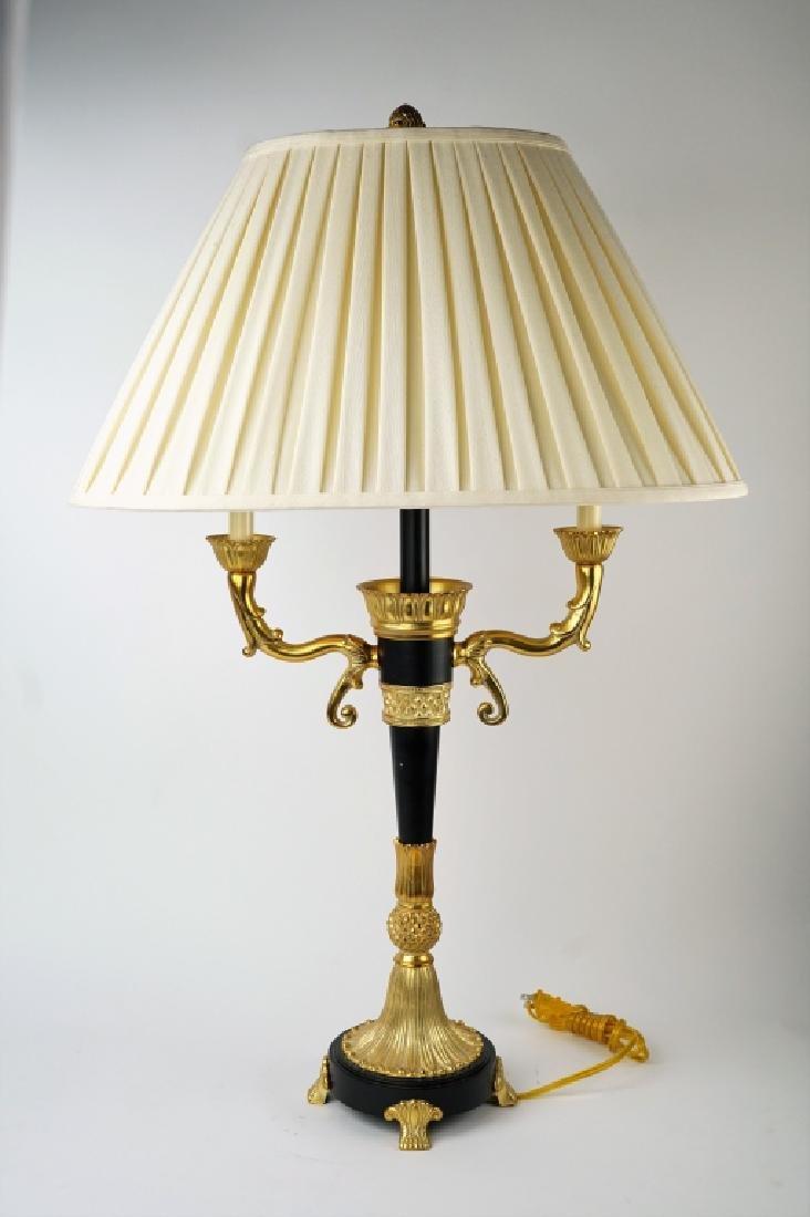 VINTAGE BLACK & GOLD 3-LIGHT TABLE LAMP