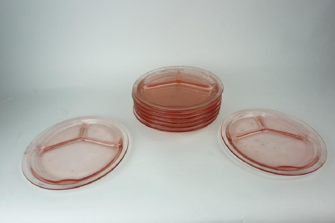 (9) ANTIQUE HC FRY GLASS CO ROSE GRILL PLATES