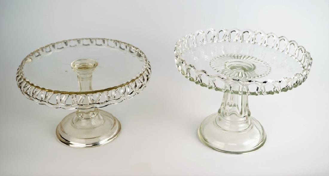 (2) PRESSED GLASS CAKE PLATTERS