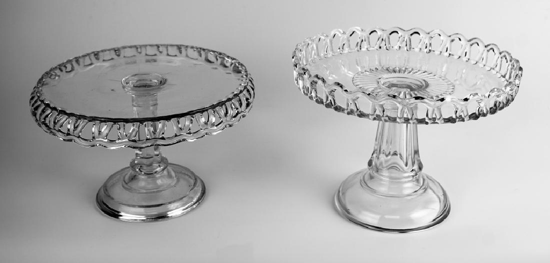 (2) PRESSED GLASS CAKE PLATTERS - 2