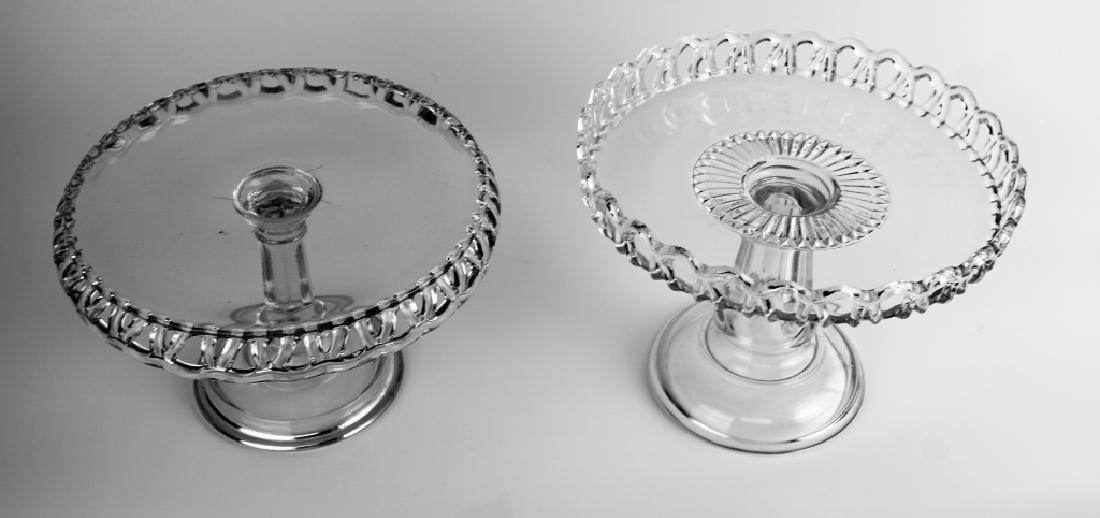 (2) PRESSED GLASS CAKE PLATTERS - 3